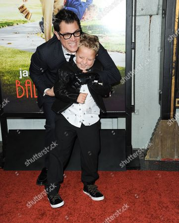 "Johnny Knoxville, left, and Jackson Nicoll arrive at the premiere of ""Jackass Presents Bad Grandpa"" at the TCL Chinese Theatre on in Los Angeles"