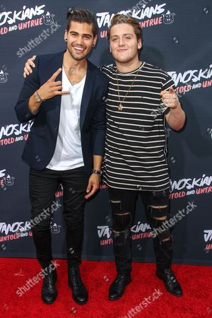 Stock Picture of Rajiv Dhall, left, and Andrew Bazzi attend the premiere of 'Janoskians: Untold and Untrue' at Bruin Theatre, in Los Angeles