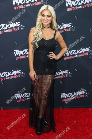 Carrington Durham attends the premiere of 'Janoskians: Untold and Untrue' at Bruin Theatre, in Los Angeles
