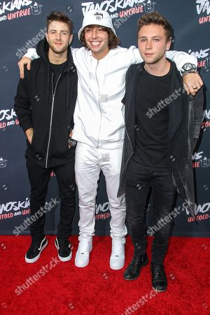 Emblem 3, from left, Drew Chadwick, Wesley Stromberg, and Keaton Stromberg attend the premiere of 'Janoskians: Untold and Untrue' at Bruin Theatre, in Los Angeles