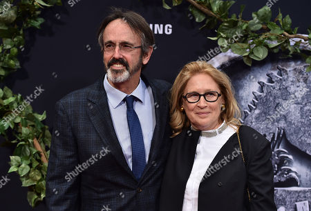 "Producer Patrick Crowley, left, and Cathleen Summers arrive at the Los Angeles premiere of ""Jurassic World"" at the Dolby Theatre on"