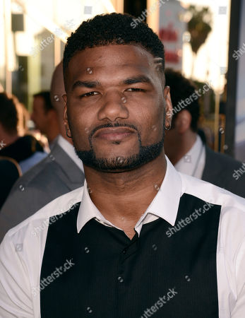 """Damien Dante Wayans arrives at the Los Angeles premiere of """"Let's Be Cops"""" at the Cinerama Dome on"""