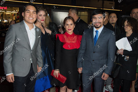 """Ryan Moore, left, guest, Jinkee Pacquiao and Manny Pacquiao attend the Los Angeles Premiere of """"Manny"""" at the TCL Chinese Theatre, in Los Angeles"""