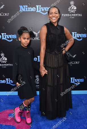 """Stock Image of Kennedy Carter and Sundy Carter arrive at the LA premiere of """"Nine Lives"""" at TCL Chinese Theatre, in Los Angeles"""