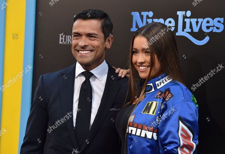 """Stock Picture of Mark Consuelos and Lola Grace Consuelos arrive at the LA premiere of """"Nine Lives"""" at TCL Chinese Theatre, in Los Angeles"""