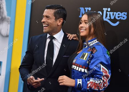 "Stock Image of Mark Consuelos and Lola Grace Consuelos arrive at the LA premiere of ""Nine Lives"" at TCL Chinese Theatre, in Los Angeles"