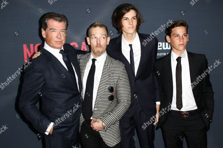"""Stock Picture of Pierce Brosnan, from left, Sean Brosnan, Dylan Brosnan and Christopher Brosnan attend the LA Premiere of """"No Escape"""" held at Regal Cinemas L.A. LIVE, in Los Angeles"""