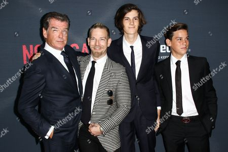 """Pierce Brosnan, from left, Sean Brosnan, Dylan Brosnan and Christopher Brosnan attend the LA Premiere of """"No Escape"""" held at Regal Cinemas L.A. LIVE, in Los Angeles"""