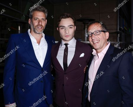"From left to right, producer Lawrence Elman, actor Ed Westwick, and producer Philip Alberstat arrive on the red carpet at the premiere of the feature film ""Romeo and Juliet"" at the ArcLight Hollywood on in Los Angeles"