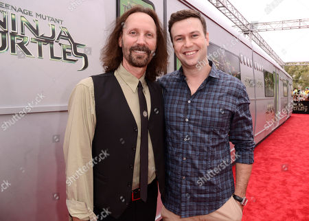 """Stock Picture of Producer Scott Mednick, left, and Taran Killam arrive at the Los Angeles premiere of """"Teenage Mutant Ninja Turtles"""" at the Regency Village Theater on"""