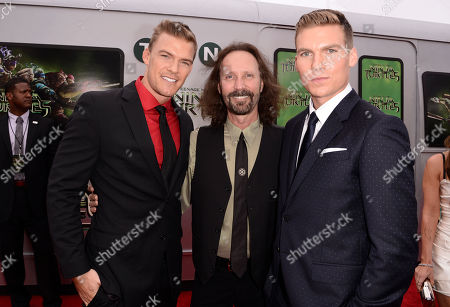 """Stock Photo of Alan Ritchson, and from left, producer Scott Mednick and Pete Ploszek arrive at the Los Angeles premiere of """"Teenage Mutant Ninja Turtles"""" at the Regency Village Theater on"""