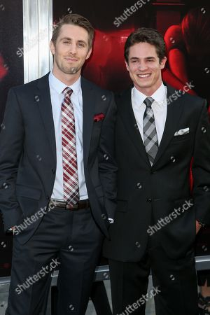 "Ryan Shoos, left, and Reese Mishler arrive at the LA Premiere of ""The Gallows"" at Hollywood High School on in Los Angeles"