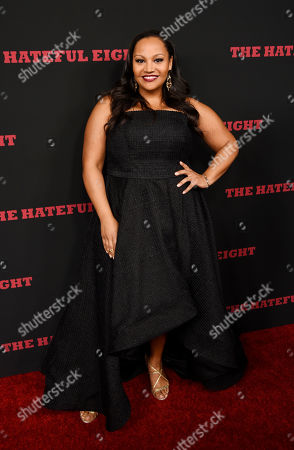 """Dana Gourrier, a cast member in """"The Hateful Eight,"""" poses at the premiere of the film at the Cinerama Dome, in Los Angeles"""