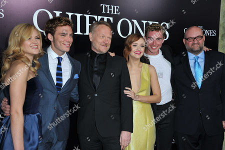 Erin Richards, from left, Sam Claflin, Jared Harris, Olivia Cooke, Rory Fleck-Byrne and John Pogue seen at the LA premiere of The Quiet Ones at Ace Hotel, in Los Angeles, CA