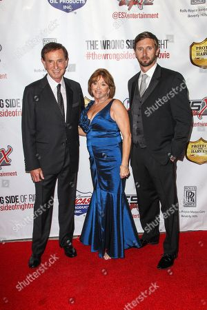 """From left, Forrest Lucas, Charlotte Lucas, and Morgan Lucas attend the premiere of """"The Wrong Side of Right"""" at the TCL Chinese Theater, in Los Angeles"""