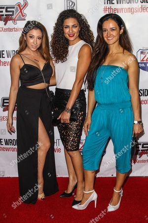 """Stock Photo of Andrea Zamora, Salome Azizi, and Estella Perez attend the premiere of """"The Wrong Side of Right"""" at the TCL Chinese Theater, in Los Angeles"""