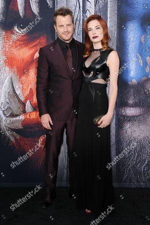 "Rob Kazinsky, left, and Chloe Dykstra attend the LA Premiere of ""Warcraft"" held at the TCL Chinese Theatre, in Los Angeles"