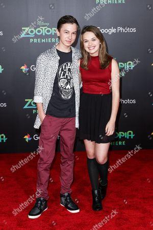 "Hayden Byerly, left, and Alyssa Jirrels attend the LA Premiere of ""Zootopia"" held at El Capitan Theatre, in Los Angeles"