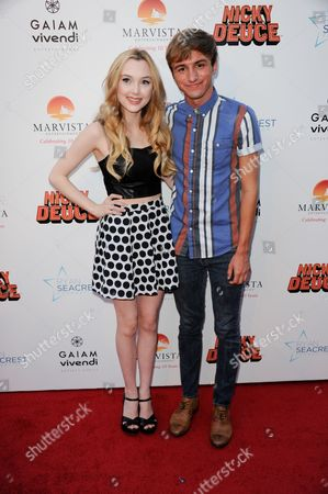 "Victory Van Tuyl, left, and Lucas Cruikshank arrive at the LA premiere of ""Nicky Deuce"" at the ArcLight Hollywood on in Los Angeles"