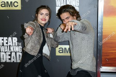 "Ally Ioannides, left, and Aramis Knight arrive at the LA Premiere of ""Fear the Walking Dead"" Season Two at Cinemark Playa Vista, in Los Angeles"