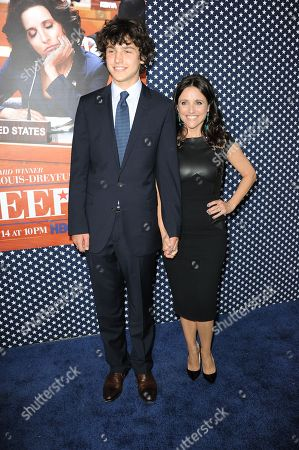 """Charles Hall, left, and Julia Louis-Dreyfus arrive at the LA premiere of the 2nd season of """"VEEP"""" at Paramount Studios on in Los Angeles"""