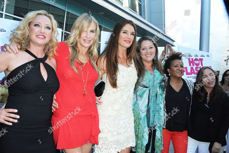"""Virginia Madsen, from left, Darryl Hannah, Brooke Sheilds, Camryn Manheim, Wanda Sykes, and Susan Seidelman arrives at the LA premiere of """"The Hot Flashes"""" at the ArcLight Hollywood on in Los Angeles. The Hot Flashes premiere will also serve as a benefit for its official charity partner, the American Cancer Society"""