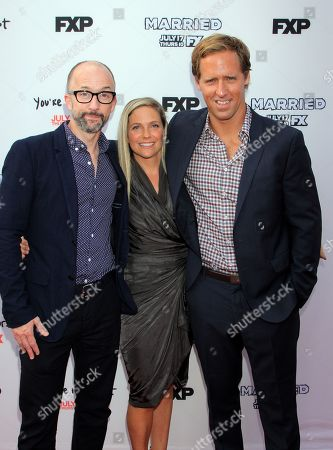 Actors Jim Rash, Meaghan Gadd, and Nat Faxon seen at LA Premiere Screening of Married at Paramount Studios, in Los Angeles, California
