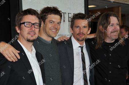 """Stock Picture of From Left, Scott Derrickson, Jason Blum, Ethan Hawke, and C. Robert Cargill attend the LA screening of """"Sinister"""" at Landmarks Theatres Regent, in Los Angeles"""