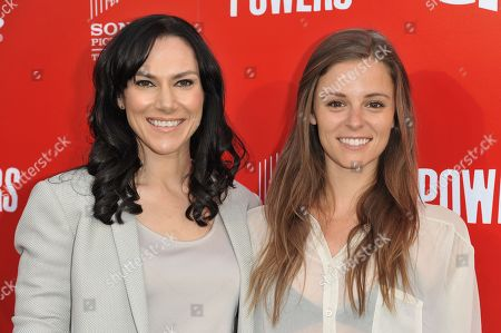 """Stock Picture of Kyra Zagorsky, left, and Jordan Hayes arrives at the LA Series Premiere Of """"Powers"""" held at Sony Picture Studios, in Culver City, Calif"""