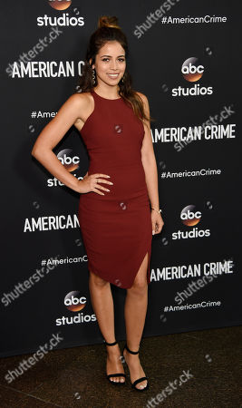 """Angelique Rivera, a cast member in the television series """"American Crime,"""" poses at an Emmy For Your Consideration screening of the show at the Directors Guild of America, in Los Angeles"""