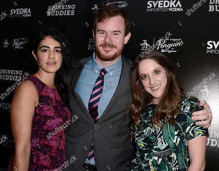 "Producer Alicia Van Couvering, director Joe Swanberg and producer Andrea Roa arrive on the red carpet at the special screening of the feature film ""Drinking Buddies"" at the ArcLight Hollywood on in Los Angeles"