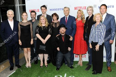 "Christopher Guest, from left, Christopher Moynihan, Zach Woods, Sarah Baker, Parker Posey, Fred Willard, Brad Williams, Susan Yeagley, Jane Lynch, Producer Karen Murphy and Michael Hitchcock attend a special screening of ""Mascots"" held at the Linwood Dunn Theater, in Los Angeles"