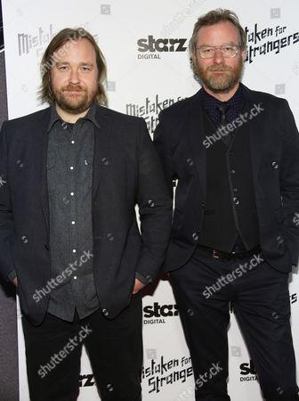 """Tom Berninger, left, and Matt Berninger arrive at LA Special Screening Of """"Mistaken For Strangers"""" at the Shrine Auditorium on in Los Angeles"""