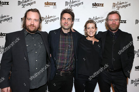 "Director Tom Berninger, producers Craig Charland, Carin Besser and singer/songwriter Matt Berninger of the band The National at LA Special Screening Of ""Mistaken For Strangers"" - Red Carpet, on in Los Angeles"
