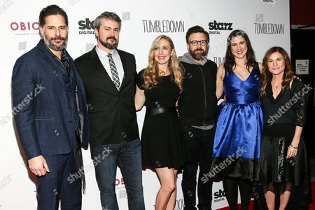 "Joe Manganiello, from left, Sean Mewshaw, Desi Van Til, Jason Sudeikis, Margot Hand and Kristin Hahn attend the LA Special Screening of ""Tumbledown"" held at Aero Theater, in Santa Monica, Calif"