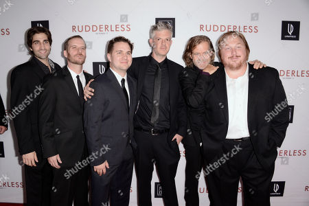 """Producers Joey Bicicchi, and from left, Gary Michael Schultz, Tyler Jackson, Ben Ruffman, director/writer William H. Macy and producer Keith Kjarva arrive at the Los Angeles VIP screening of """"Rudderless"""" at The Vista Theater on"""