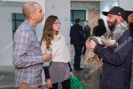 Scolia Acosta, left Allison O'Daniel and Piero Golia attend the LAXART Opening at 7000 Santa Monica Blvd., in Los Angeles
