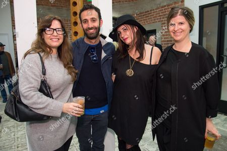 Ann Ellegood, left Alex Israel, Lauri Firstenberg and Laura Fried attend the LAXART Opening at 7000 Santa Monica Blvd., in Los Angeles
