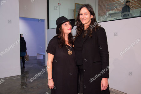 Lauri Firstenberg, left and Bettina Korek attend the LAXART Opening at 7000 Santa Monica Blvd., in Los Angeles