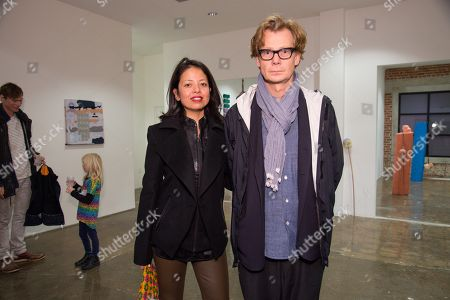 Sylvia Chivaratanond, left and Philippe Vergne attend the LAXART Opening at 7000 Santa Monica Blvd., in Los Angeles