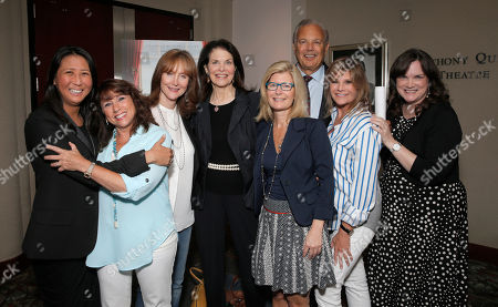 Stock Picture of Sung Poblete, Sue Schwartz, Rusty Robertson, Sherry Lansing, Pamela Williams, Dr. Dennis Slamon, Lisa Paulsen and Kathleen Lobb attend a Stand Up To Cancer hosted screening of Lee Daniels' The Butler to benefit the Laura Ziskin Prize, on in Los Angeles