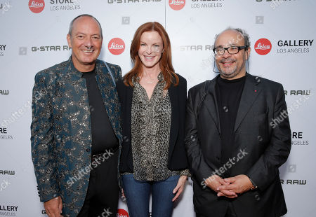 Leica Chief Executive Officer Alfred Schopf, Marcia Cross and Leica Deputy Chairmain of the Supervisory Board Dr. Andreas Kaufmann attend the Leica Los Angeles Grand Opening, on Thursday, June, 20, 2013 in West Hollywood, California