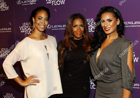 Stock Photo of Reality stars guest, Sheree Whitfield (C) and Laura Govan (R) arrive at Lexus Presents: Verses and Flow Season 3 with Jill Scott tapped at The Belasco Theatre on in Los Angeles, California. (Photo by Arnold Turner/Invision/AP