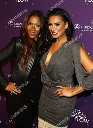 Reality stars Sheree Whitfield and Laura Govan arrive at Lexus Presents: Verses and Flow Season 3 with Jill Scott tapped at The Belasco Theatre on in Los Angeles, California. (Photo by Arnold Turner/Invision/AP