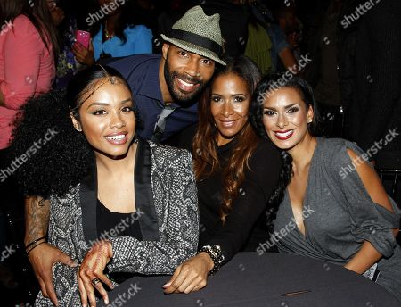 Stock Image of Reality stars (L-R) Claudette Ortiz, V&F host Omari Hardwick, Sheree Whitfield and Laura Govan seen at Lexus Presents: Verses and Flow Season 3 with Jill Scott tapped at The Belasco Theatre on in Los Angeles, California. (Photo by Arnold Turner/Invision/AP