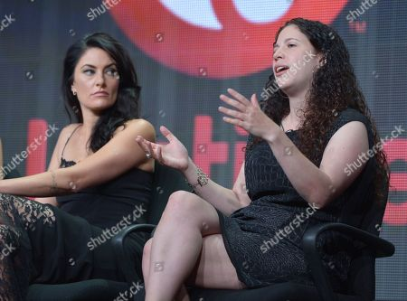 """Actress Madchen Amick, left, and executive producer Maggie Friedman at Lifetime's TCA Panel """"Witches of East End"""" at the Beverly Hilton on July 26th, 2013 in Beverly Hills, Calif"""