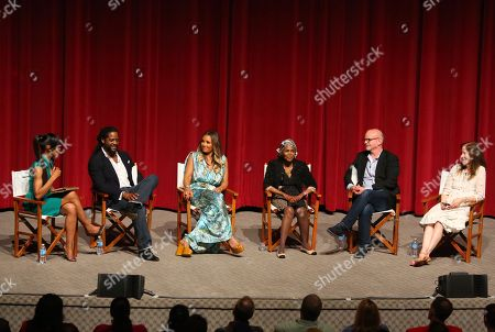 "Stock Picture of Shaun Robinson and from left, Blair Underwood, Vanessa Williams, Cicely Tyson, Michael Wilson and Hallie Foote participate in a panel at the Lifetime screening of ""The Trip to Bountiful"" at the Leonard H. Goldenson Theatre, in the NoHo Arts District of Los Angeles"