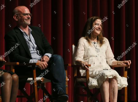 "Michael Wilson, left, and Hallie Foote participate in a panel at the Lifetime screening of ""The Trip to Bountiful"" at the Leonard H. Goldenson Theatre, in the NoHo Arts District of Los Angeles"