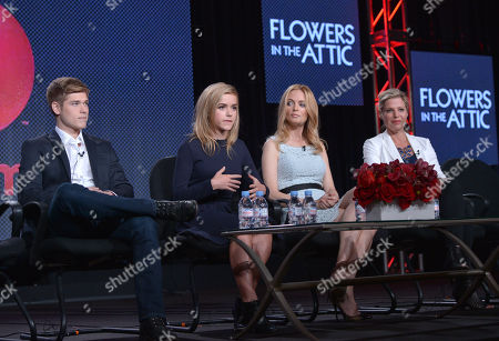 Stock Picture of From left, Mason Dye, Kiernan Shipka, Heather Graham and screenwriter Kayla Alpert speak on stage at the Lifetime/A&E Winter Press Tour, on in Pasadena, Calif