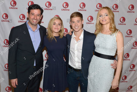 Stock Photo of From left, Robert Sharenow, executive vice president, general manager, Lifetime, Kiernan Shipka, Mason Dye and Heather Graham attend the Lifetime/A&E Winter Press Tour, on in Pasadena, Calif